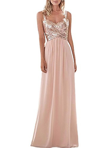 Style A Top Sequins Rose Gold Bridesmaid Dress Long Prom