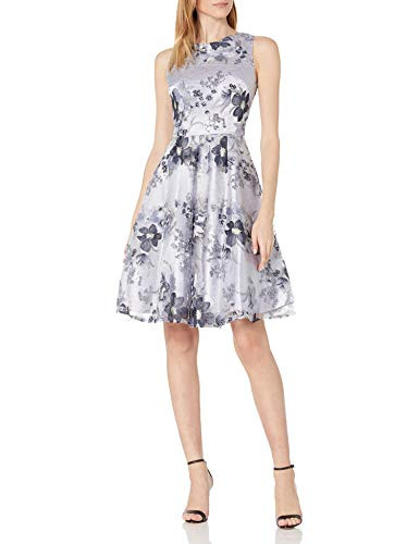 Tahari ASL Womens Plus Size Ballet Neck Fit and Flare