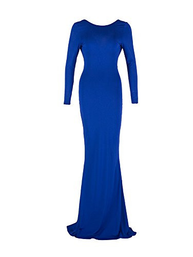 TOB Womens Sexy Long Sleeve Backless Ruched Evening Prom