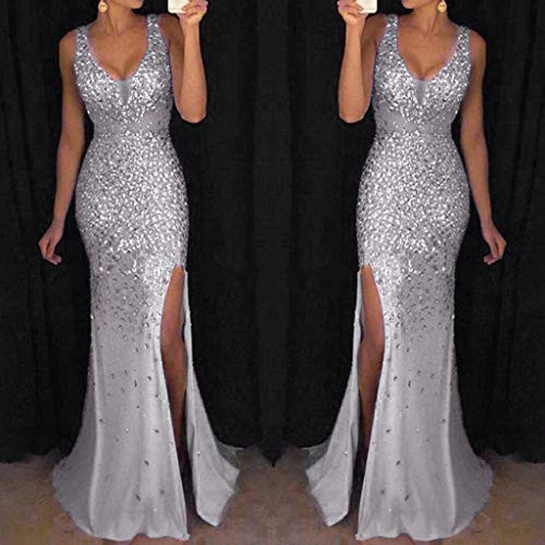 TRENDINAO Women Sequin Prom Party Ball Gown Sexy Gold