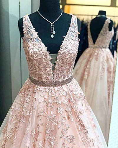 V Neck Tulle Prom Dresses Long Lace Appliques Formal Evening