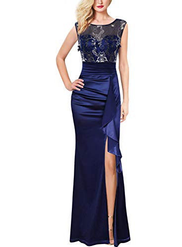 VFSHOW Womens Blue Floral Embroidered Formal Ruched Ruffles