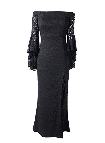 VFSHOW Womens Floral Lace Off Shoulder Bell Sleeve Formal
