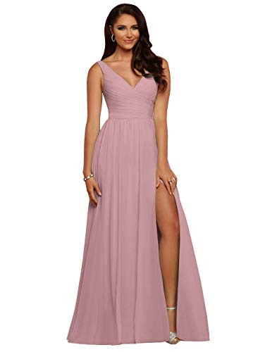 Vici Gowner Womens Chiffon V Neck A Line Draped Dusty Rose