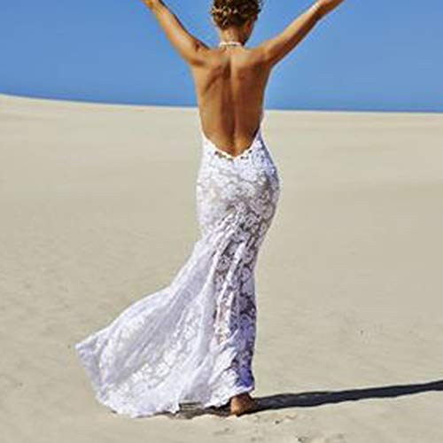 Women Wedding Party Long Dress Sexy Lace V-Neck Backless