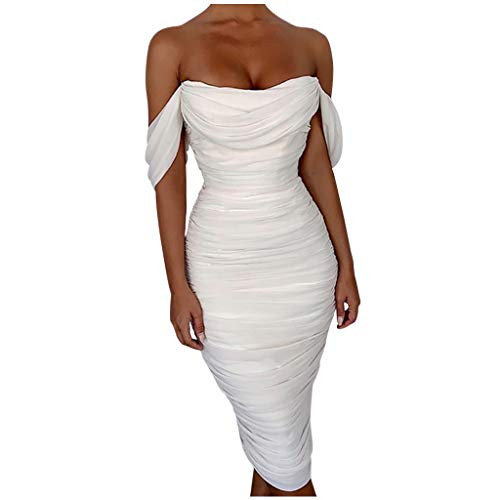 Womens Dresses Sexy Ruffle Off Shoulder Sleeveless Solid