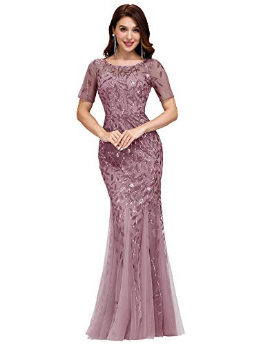 Womens Illusion Embroidery Prom Formal Dress Maxi Wedding