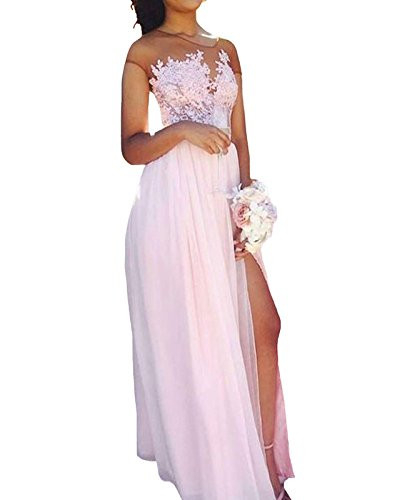 Womens Illusion Lace Bodice A-line Prom Dress Long Formal