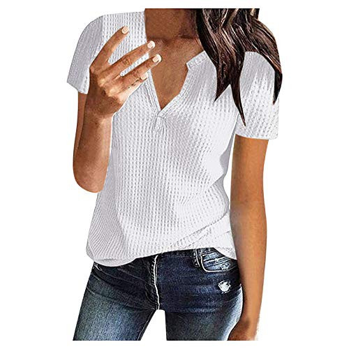 Womens Lace Short Sleeve V Neck Shirts Loose Casual Tops