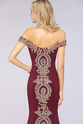 Womens Off Shoulder Gold Appliques Mermaid Long Formal Prom