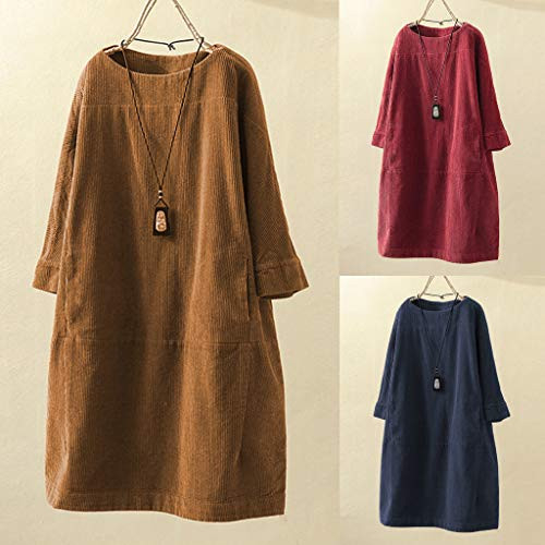 Womens Vintage Casual Corduroy Loose Dresses with Pockets