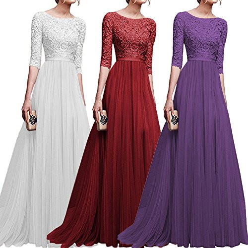 Womens Vintage Floral Lace 3/4 Sleeves Long Cocktail