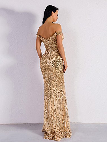 WRStore Womens Off Shoulder Sequined Evening Party Maxi
