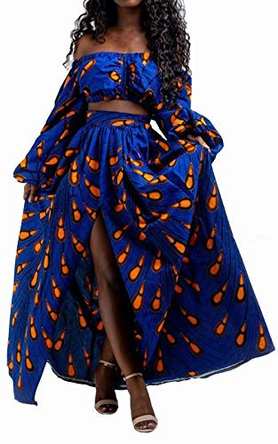 WSIRMET Women 2 Piece Outfits Sexy Dress African Floral