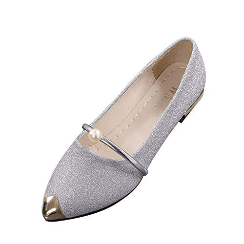 Xinantime Womens Pointed Toe Comfort Flats Slip On Ballet