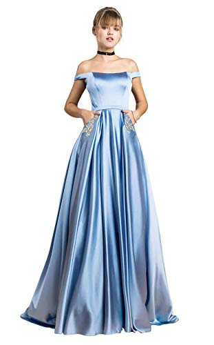 Yilis Womens Off The Shoulder A-line Beaded Satin Evening