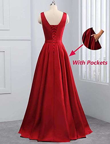 yinyyinhs V Neck Prom Dresses Long Stain Evening Ball Gowns