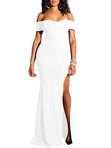 YMDUCH Womens Off Shoulder High Split Long Formal Party