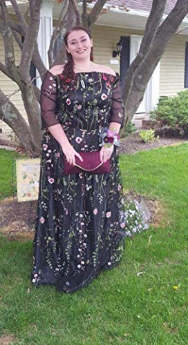 YSMei Womens V Neck Floral Embroidered Prom Dress Long