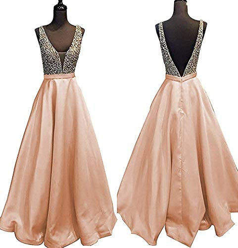 YuNuo Gorgeous V Neck Beaded Crystal Brown Long Prom Dresses