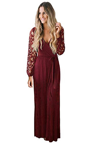 Zattcas Womens Casual Floral Lace Long Sleeve Faux Wrap V