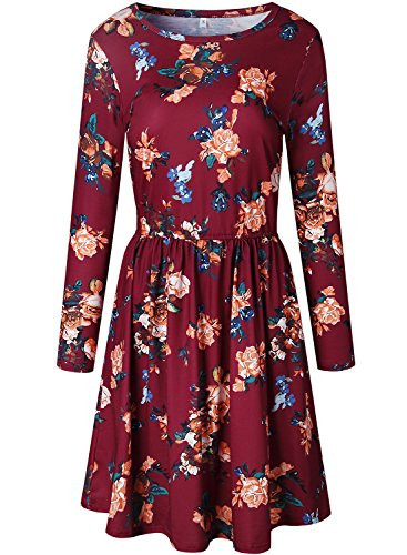 ZESICA Womens Long Sleeve Floral Pockets Casual Swing