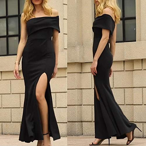 ZKESS Womens Sexy Gown Dresses Fishtail Side Split Party